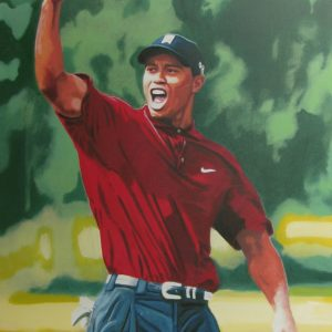 Original Tiger Woods oil painting with Silkscreen and hand embellishment