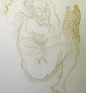 Original hand signed woodblock from Dali's divine Comedy