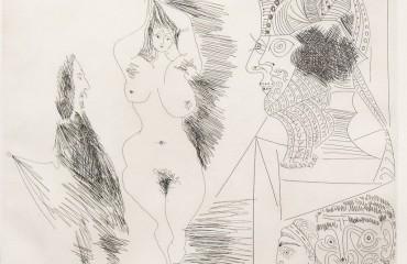 Jeune Femme et Gentilhomme Sculpture Egyptian Au Socle Peint by Pablo Picasso  (SOLD)