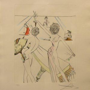 Original Hand Colored Etching by Salvador Dali