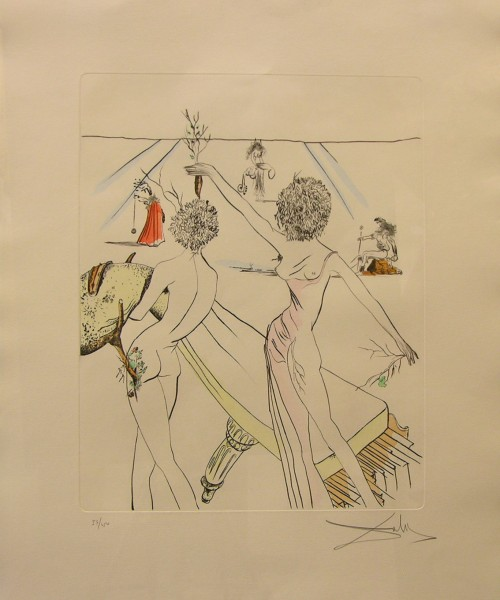 Original Hand Colored Etching by Salvador Dali
