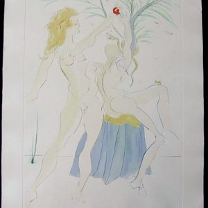 Adam and Eve - Original Engraving with Pochoir by Salvador Dali