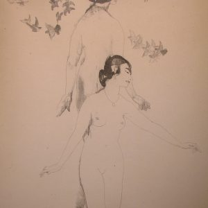 Circling Doves - Original Transfer Lithograph by Arthur Bowen Davies