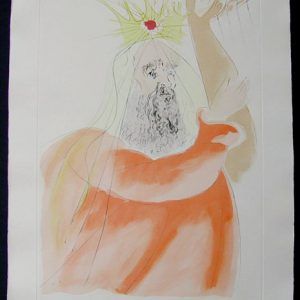 King David - Original Limited Edition Engraving with Pochoir by Salvador Dali