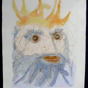 King Saul - Original Engraving with Pochoir by Salvador Dali