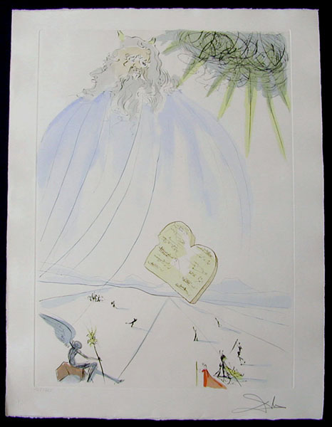 Moses - Original Engraving With Pochoir by Salvador Dali