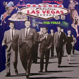 Rat Pack Lights Up Las Vegas - Original Oil & Silkscreen on Canvas
