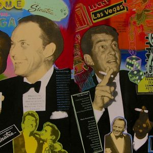 Rat Pack At Sands / Caesars - original Oil & Silkscreen on Canvas by Steve Kaufman