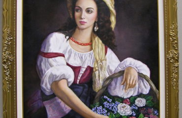An Italian Beauty Holding a Basket of Flowers by Galina Evangelista