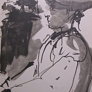 Portrait of Luis Miguel Dominguin printed by Mourlot and signed by Picasso