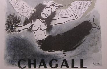 Signed Marc Chagall Exhibition Poster printed by Mourlot