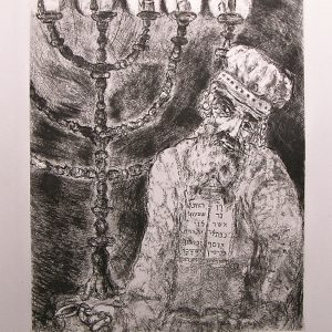 Aaron et le Chandelier - Original Etching by Marc Chagall