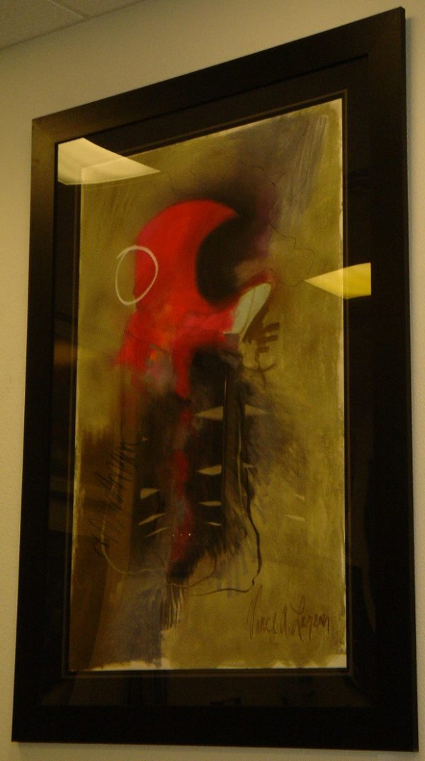 Red Abstract with Imperfect Circle - Vance Larson
