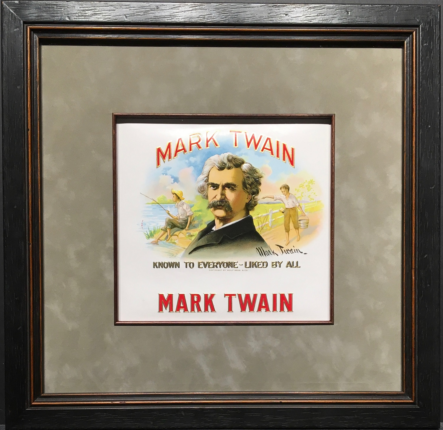 mark twain cigar label.