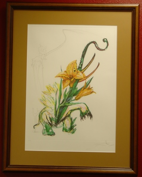 Original hand signed intaglio etching LILY (ELEPHANT) by Salvador Dali