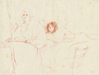 Femme Au Plateau – Petit Dejeuner (Madame Baron et Mademoiselle Popo) by Henri de Toulouse-Lautrec
