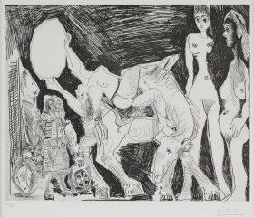 Cirque: Ecuyere, Femmes et spectateurs, dont un Garagiste Deguise by Pablo Picasso (1881 – 1973)- SOLD