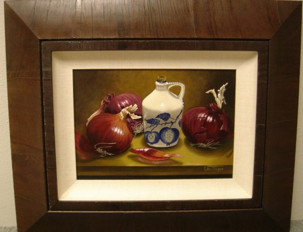 Original Oil on CanvasOnion Harvest - by Luba Stolper framed - Art encounter