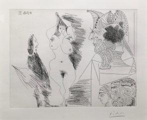 Jeune Femme et Gentilhomme Sculpture Egyptian Au Socle Peint by Pablo Picasso