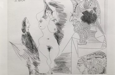 Jeune Femme et Gentilhomme Sculpture Egyptian Au Socle Peint by Pablo Picasso – SOLD