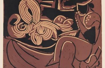 Femme Couchee et Homme a la Guitare – 1959 by Pablo Picasso  (SOLD)