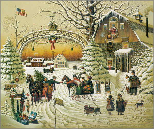 Limousine For Sale >> Christmas Greeting by Charles Wysocki - Art encounter