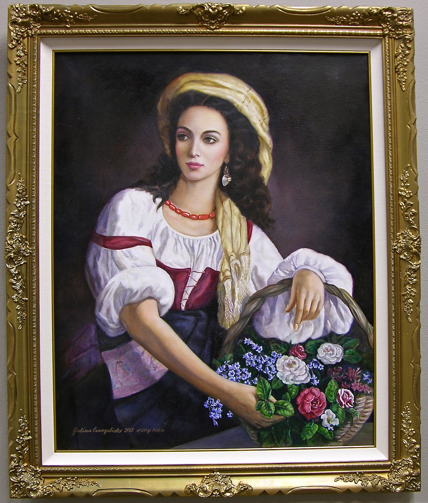 An Italian Beauty Holding a Basket of Flowers