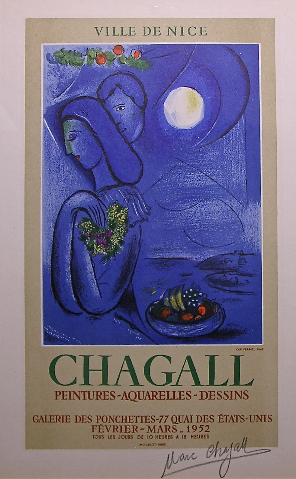 1952 Marc Chagall Exhibition Poster