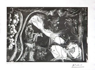 Au Theatre: Couple Avec un Flutiste et un Petit Chien – by Pablo Picasso